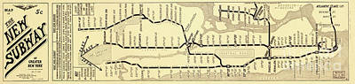 Painting Royalty Free Images - New York City Subway Map Vintage Royalty-Free Image by Mindy Sommers