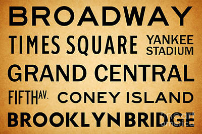Bus Scrolls Digital Art - New York City Subway Sign Typography Art 1 by Nishanth Gopinathan