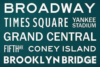 Bus Scrolls Digital Art - New York City Subway Sign Typography Art 3 by Nishanth Gopinathan