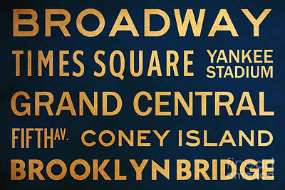Yankee Stadium Digital Art - New York City Subway Sign Typography Art 4 by Nishanth Gopinathan