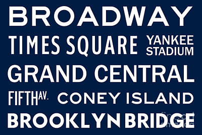 Yankee Stadium Digital Art - New York City Subway Sign Typography Art 6 by Nishanth Gopinathan