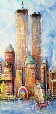 Painting - Twin Towers Nyc Summer 1999  by Bernadette Krupa