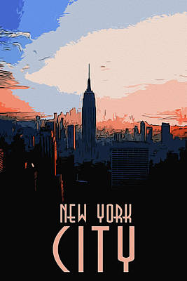 Painting - New York City Sunset by Andrea Mazzocchetti