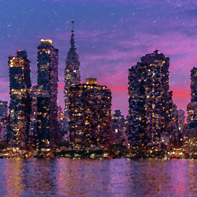 City Sunset Digital Art - New York City Sunset by Bob Smerecki