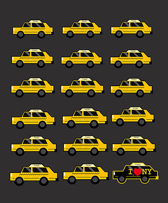 New York City Taxi Art Print by Art Spectrum