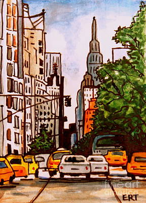 Painting - New York City Taxis by Elizabeth Robinette Tyndall