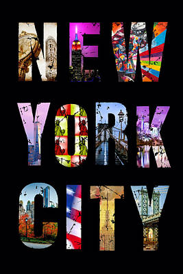 Empire State Building Digital Art - New York City Text 1 by Az Jackson