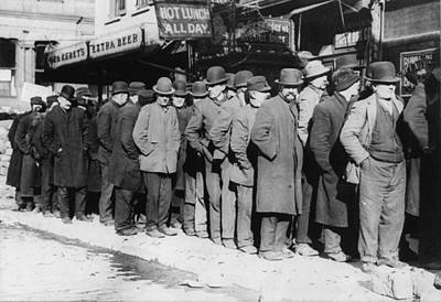 Bread Line Photograph - New York City, The Bowery, Men Waiting by Everett