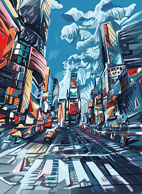 Empire State Building Painting - New York City-times Square by Bekim Art