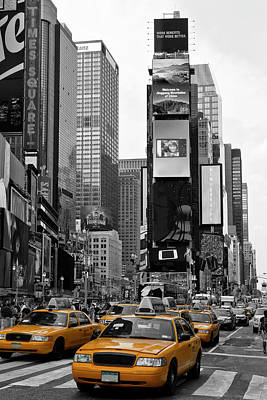 Yellow Photograph - New York City Times Square  by Melanie Viola