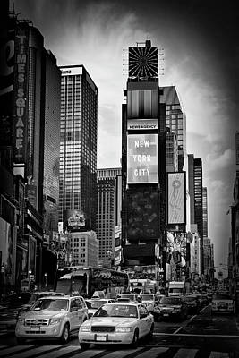 Commercial Photograph - New York City Times Square - Monochrome by Melanie Viola