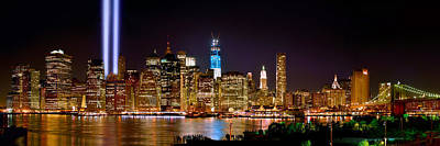 Downtown Photograph - New York City Tribute In Lights And Lower Manhattan At Night Nyc by Jon Holiday