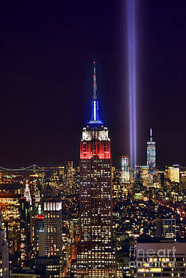 Photograph - New York City Tribute In Lights Empire State Building Manhattan At Night Nyc by Jon Holiday