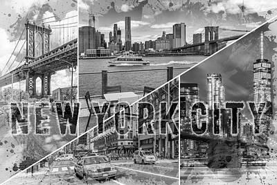 Mixed Media Photograph - New York City Urban Collage No 1 - Monochrome by Melanie Viola