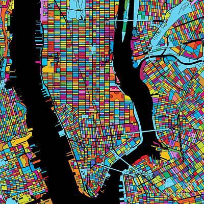New York City, Usa, Colorful Map Original by Knut Hebstreit