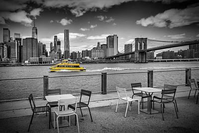 New York City - Walking Along The River Bank Art Print