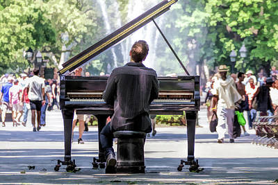 Painting - New York City Washington Park Piano Player by Christopher Arndt
