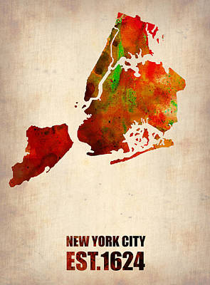 New York City Watercolor Map 2 Art Print by Naxart Studio