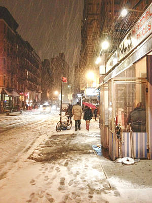 Lower East Side Photograph - New York City - Winter Night - Snow In The City by Vivienne Gucwa