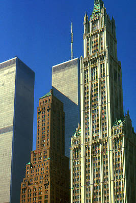 Photograph - New York City - Woolworth Building And World Trade Center by Peter Potter