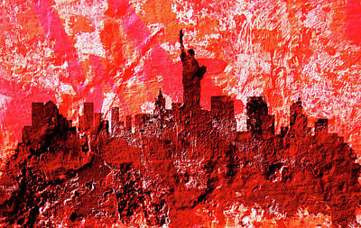 Statue Of Liberty Mixed Media - New York Cityscape 1a by Brian Reaves
