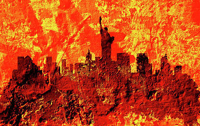 Mapping Mixed Media - New York Cityscape 3a by Brian Reaves