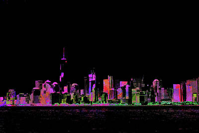 Digital Art - New York Cityscape Black by Roger Lighterness