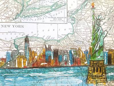 New York Cityscape Map Original by Scott D Van Osdol