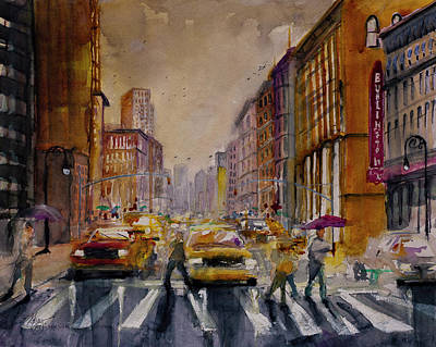 Painting - New York Cityscape Rainy Morning Commute by Gray Artus