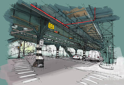 Columbus Drawing - New York Drawing. Mta Subway. Simpson St. Handmade Sketch by Pablo Franchi