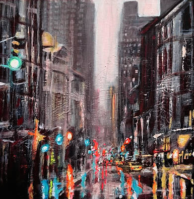Painting - New York Dusk Rain by Paul Mitchell