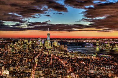 Photograph - New York Electric Twilight by Rafael Quirindongo