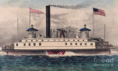 Victorian Era Wall Art - Painting - New York Ferry Boat by Currier and Ives