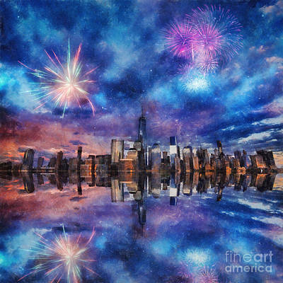 Art Print featuring the photograph New York Fireworks by Ian Mitchell