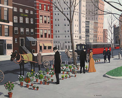 Painting - New York Flower Vendors by Dave Rheaume
