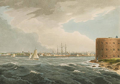 Harbor Drawing - New York From Governors Island by William Guy Wall