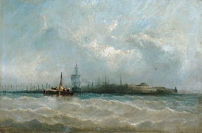 Painting - New York From The Harbor Showing The Battery And Castle Garden by Alfred Copestick