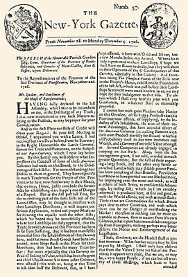 Photograph - New York Gazette, 1726 by Granger