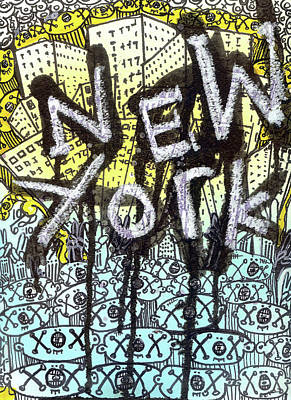 Museum Mixed Media Mixed Media - New York Graffiti Scene by Robert Wolverton Jr