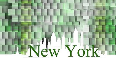 Contemporary Digital Art - New York Green Shadows by Alberto RuiZ