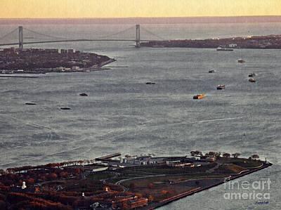 New At Digital Art - New York Harbor At Dusk by Sarah Loft