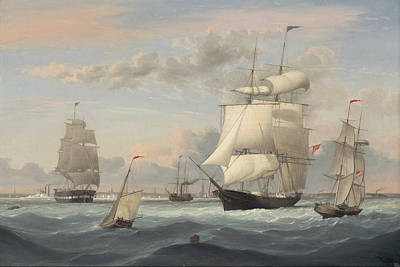 Painting - New York Harbor By Fitz Henry Lane 1852 by Fitz Henry Lane