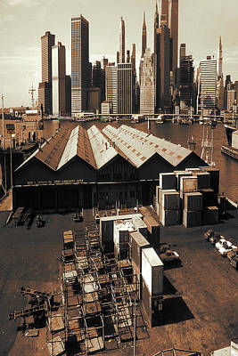 Photograph - New York Harbor Docks 1980 - Vintage Photo Art by Peter Potter