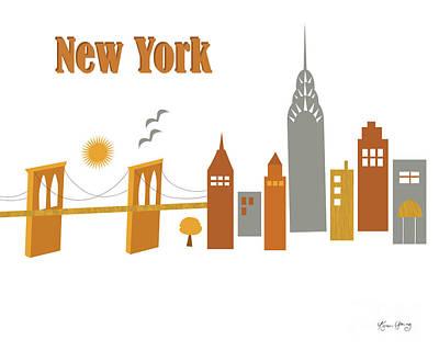 Chrysler Building Digital Art - New York Horizontal Scene - Brooklyn Bridge by Karen Young