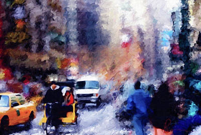Painting - New York Hustle And Bustle by Georgiana Romanovna