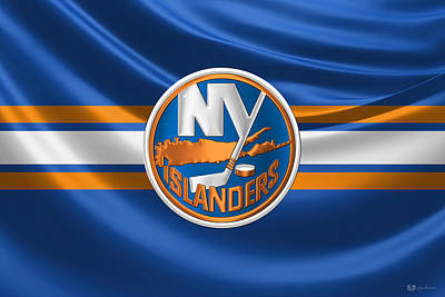 Hockey Art Digital Art - New York Islanders - 3 D Badge Over Silk Flag by Serge Averbukh