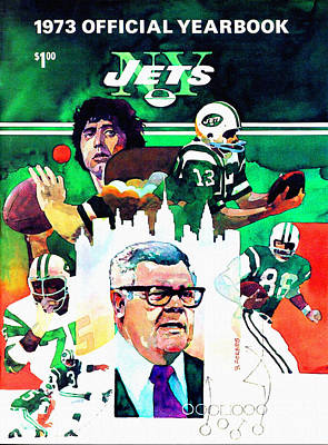 Shea Stadium Painting - New York Jets 1973 Yearbook by Big 88 Artworks