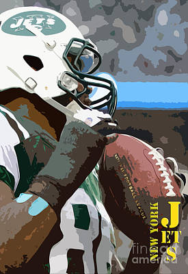 Jet Digital Art - New York Jets Football Team And Original Yellow Typography by Pablo Franchi