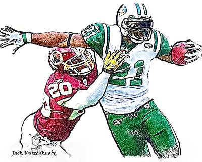 Ladainian Tomlinson Digital Art - New York Jets Ladainian Tomlinson - Washington Redskins Oshiomogho Atogwe by Jack K