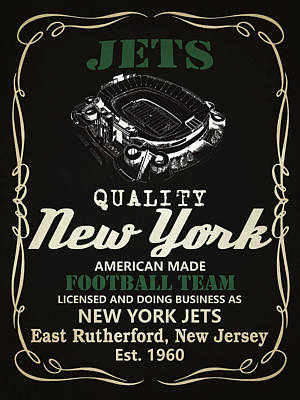Jets Mixed Media - New York Jets Whiskey by Joe Hamilton